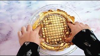 把50张金箔纸混入水晶泰透做网格泥,无硼砂,网格压下去的瞬间变土豪!