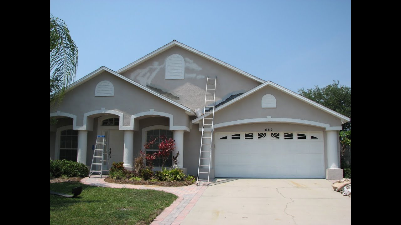 Merritt island exterior painting and stucco repair project - Painting a stucco house exterior ...