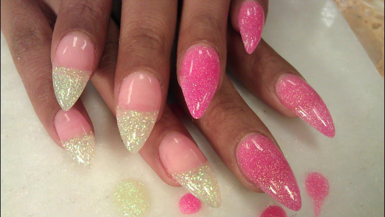 How to stiletto blush glitter acrylic nails youtube for Acrylic nail decoration
