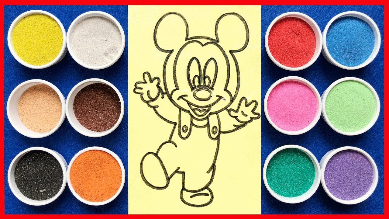 Đồ chơi trẻ em TÔ MÀU TRANH CÁT CHUỘT MICKEY MOUSE – Learn Colors Sand Painting Toys (chị Chim Xinh)