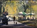 """Advancing with Watercolor: on location - NYC """"The Vendors of Central Park"""""""