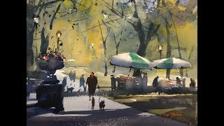 "Advancing with Watercolor: on location - NYC ""The Vendors of Central Park"""