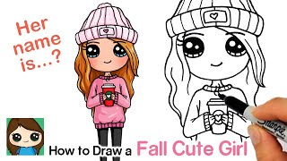 How To Draw A Cute Girl For Autumn Holding Cup Of Hot Coco
