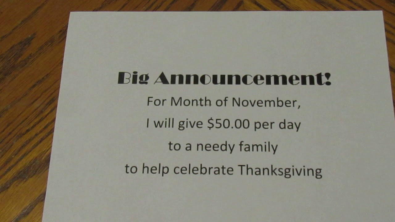 Random Acts of Kindness for November 5th 2018