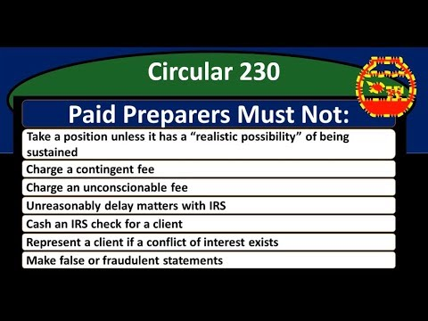 Circular 230 – Rules For Paid Tax Preparation – Income Tax 2018
