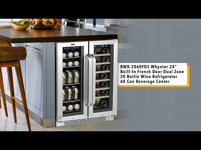 BWB-2060FDS Whynter 24″ Built-In French Door Dual Zone Wine Refrigerator / Beverage Center