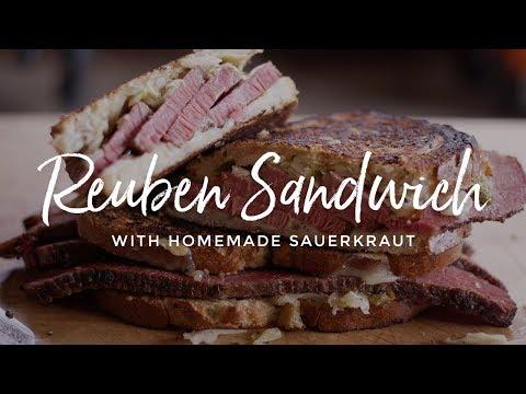Toasted Pastrami Reuben Sandwich with Homemade Sauerkraut