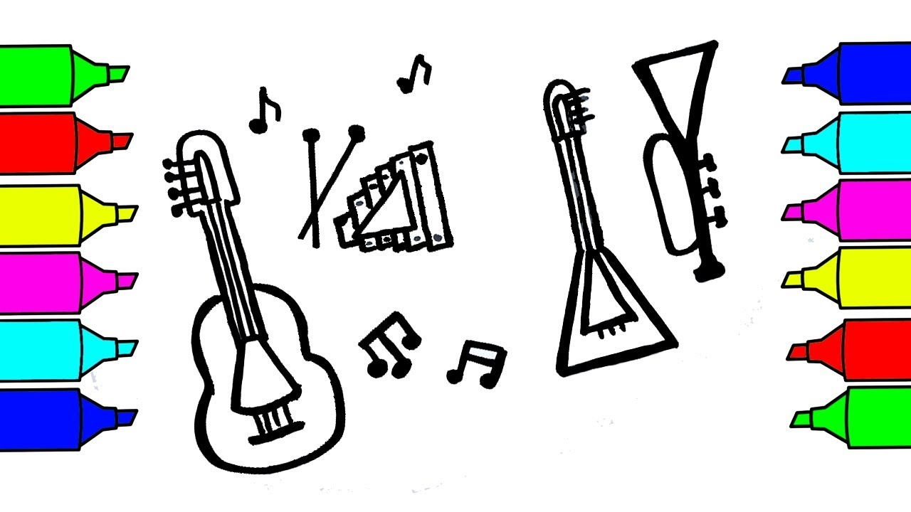 Musical Instruments For Coloring Kids Youtubee Free Online ... | 720x1280