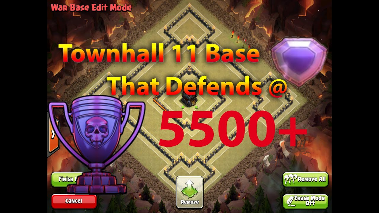 Clash of clans the best new townhall 11 war trophy base that will
