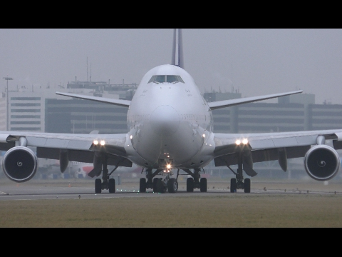 4K Close-up planes take-off - Planespotting at Schiphol AMS - 747, 777, A320 NEO, A300, etc.