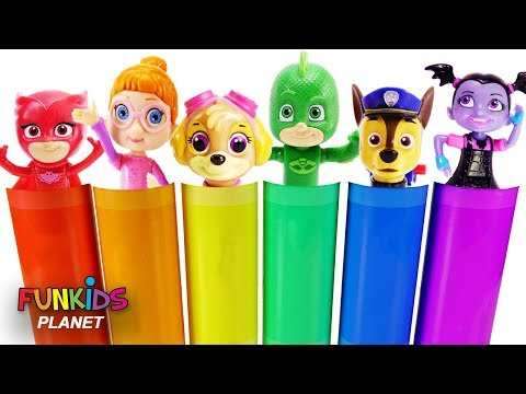 Best Learning Colors Video for Children with Crayons - Paw Patrol, Vampirina & PJ Masks