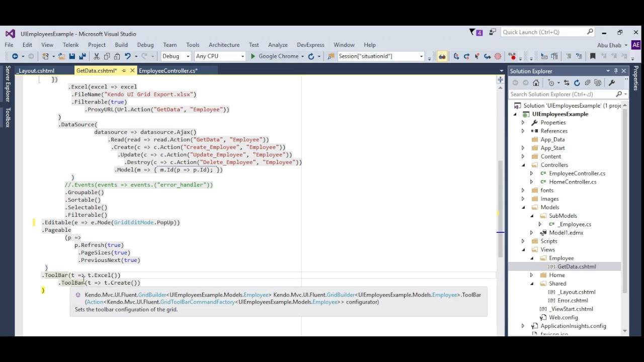Telerik Kendo UI ASP Net MVC Part 5 (Populate Kendo UI Grid)