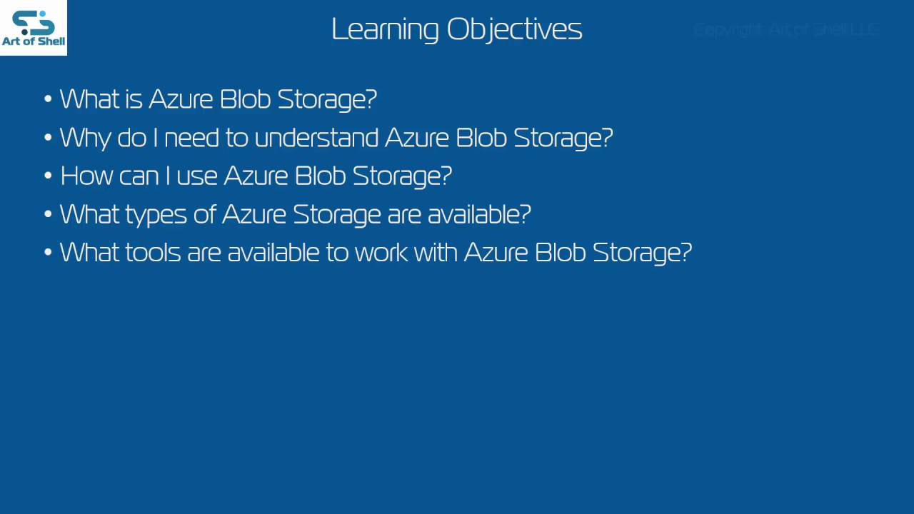 Azure Blob Storage Video Training Course - Art of Shell