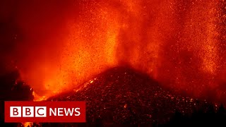 Lava from erupting volcano destroys homes in Spanish Canary Islands  - BBC News