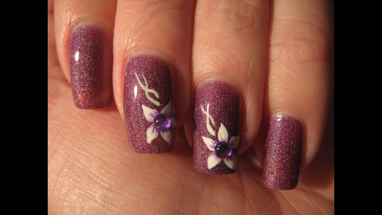 Nail Art Subtle Flower W Rhinestone Beginner Youtube