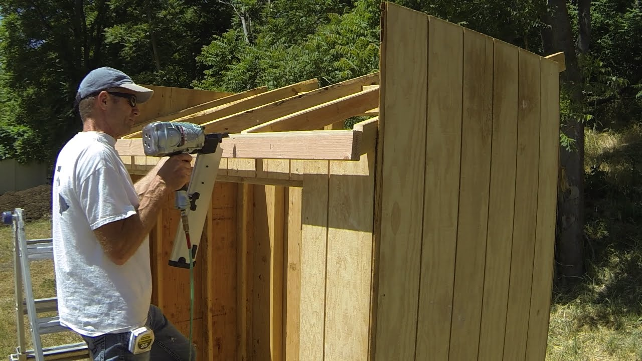 How to build a lean to shed part 5 roof framing youtube for How to build a sloped roof shed