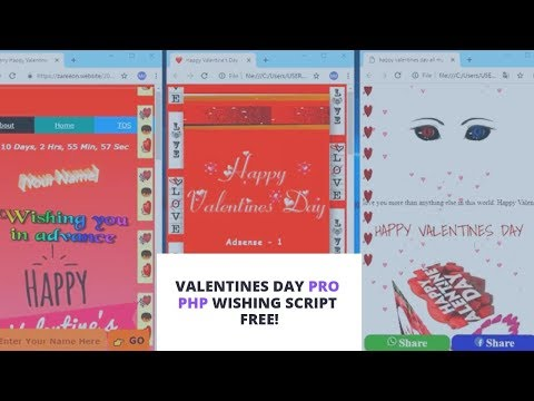 Valentine Day PHP Wishing Script 2019 Free  | WordPress Script Free