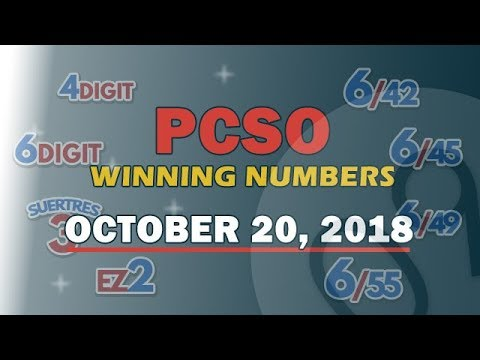 P45M Jackpot Prize Grand Lotto 6/55, EZ2, Suertres, 6Digit,Lotto 6/42 Draw | October 20, 2018