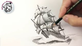How to draw a ship step by step with pencil | Pencil Drawing Techniques