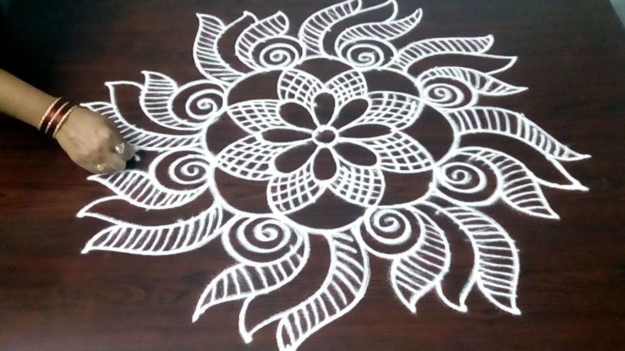 Easy Design Rangoli Kolam  || Easy Design Muggulu  || Freehand Muggulu Design || Fashion World