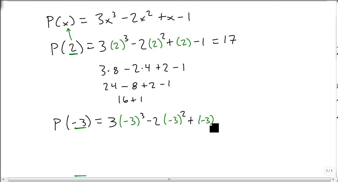 evaluate a polynomial function  youtube