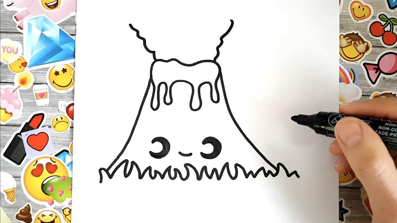 Cómo Dibujar Un Volcán Kawaii Paso A Paso Youtube