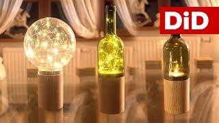671. Drewniane lampy, świeczniki z drewna i butelek po winie