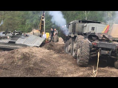 МАЗ-537 БМП-1 застрял + Т-55/VT-55A Tatra-813 Bergung Rescue