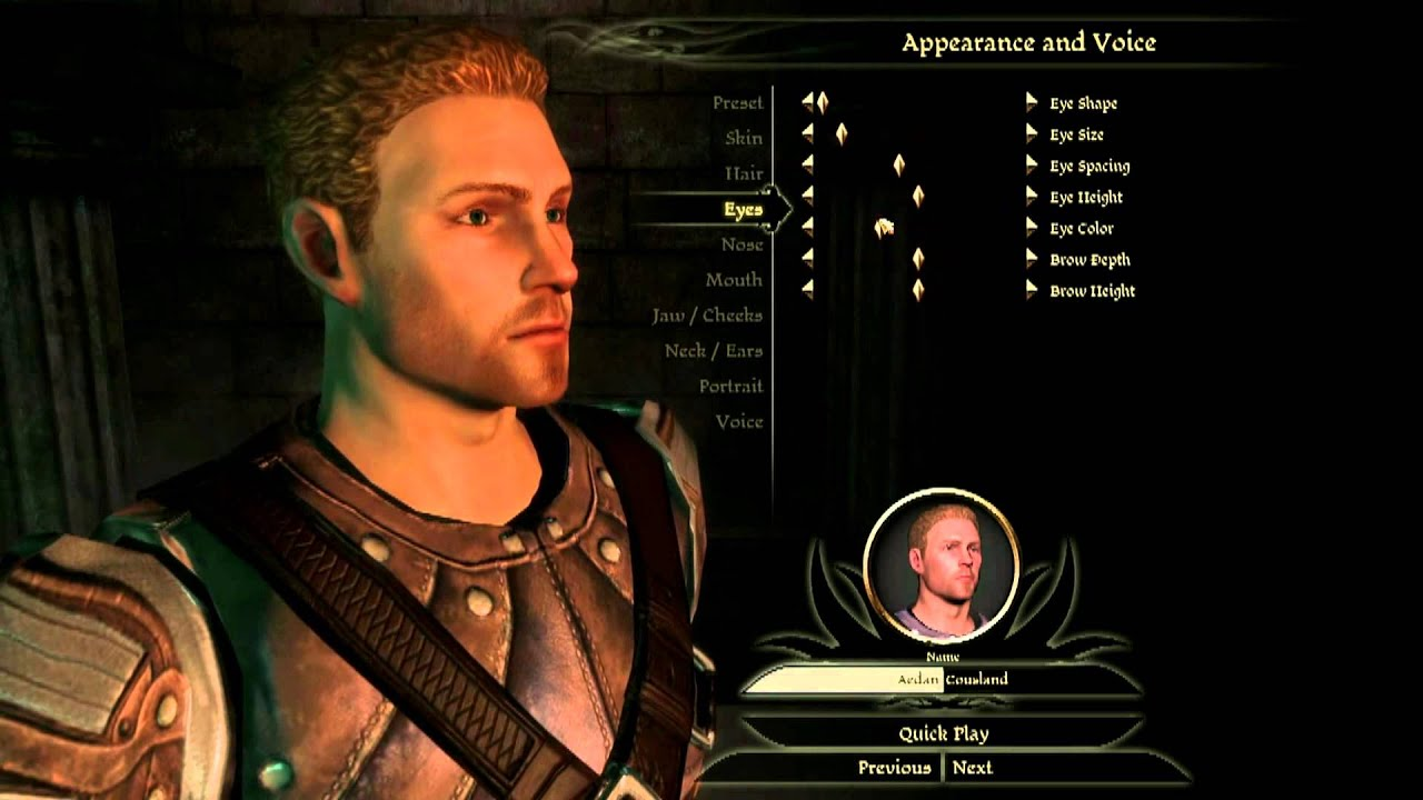 Dragon Age Origins Character Face Creation Youtube