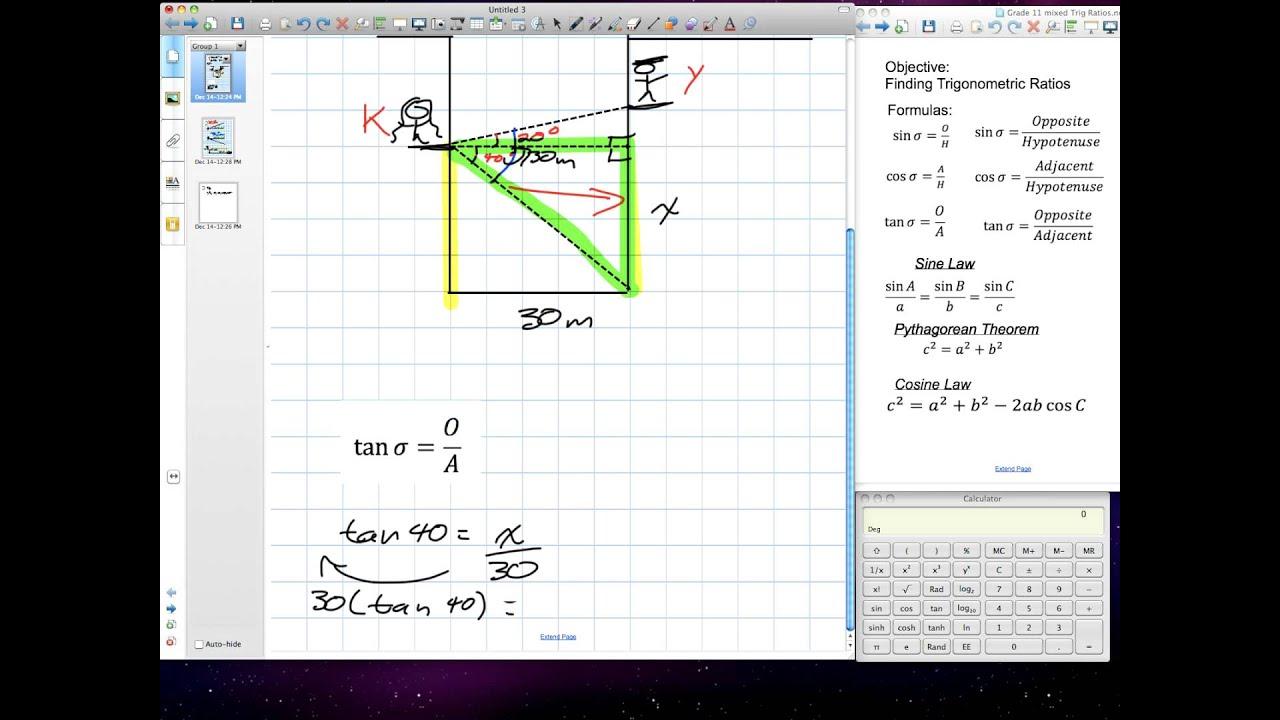 Solving Problems Using Primary Trig Ratios Grade 10 Academic Lesson 7 5 12 14 11 V