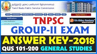 TNPSC Group 2 Answer Key 2018 | General Studies | Question 1 - 100 | We Shine Academy
