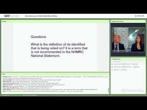 Webinar - Secondary use of My Health Record data