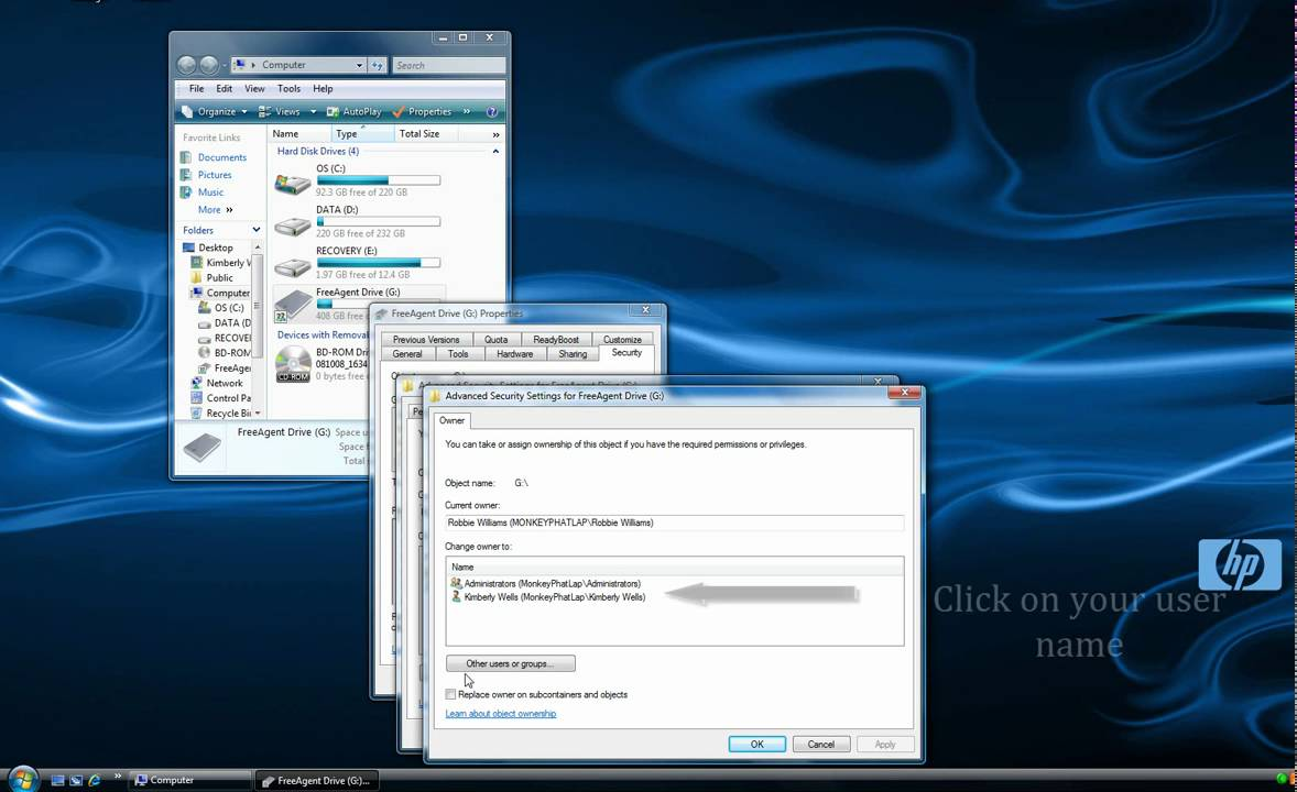 how to change ownership of external hard drive