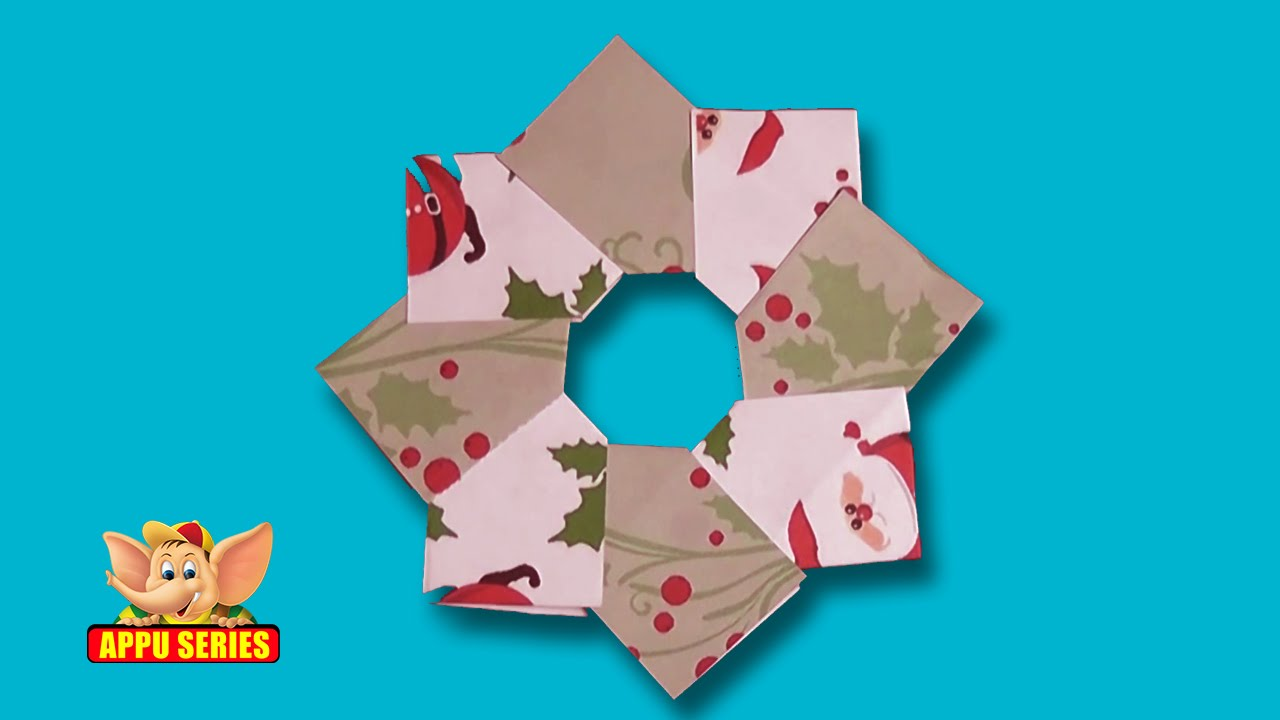 Christmas origami wreath - Origami Learn To Make A Christmas Wreath