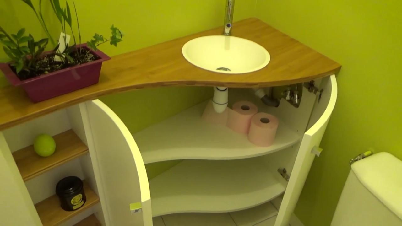 Atlantic Bain Morisseau Vertou meuble lave-mains bambou sur mesure dans un angle - atlantic bain