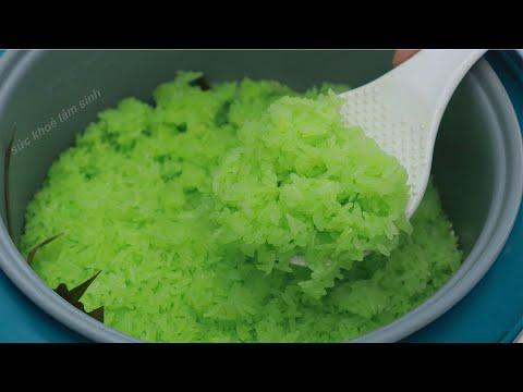 Cách nấu Xôi Lá Dứa trong Nồi Cơm Điện cực dễ mà xôi dẻo thơm đẹp mắt