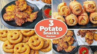 3 Easy Potato Snacks Recipes | Potato Smiley | Potato Pakora | Potato Roll Samosa | Toasted