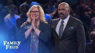 Chrissy hits it BIG! | Family Feud