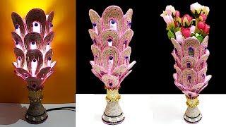 DIY-Night Lamp/Flower Vase made from Plastic Bottle and Jute rope   DIY showpiece  Jute craft idea
