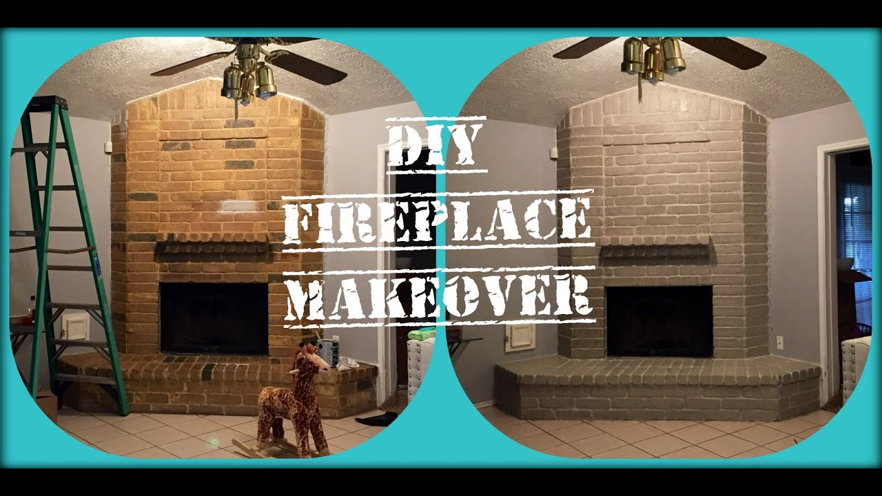 easy modern fireplace makeover whitewash and sponge painting youtube