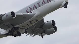Qatar Airways A380-861 A7-APD Takeoff from Heathrow 5/12/2019