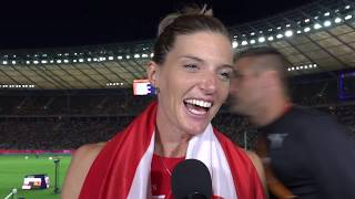 Lea Sprunger (SUI) after winning Gold in the 400m Hurdles