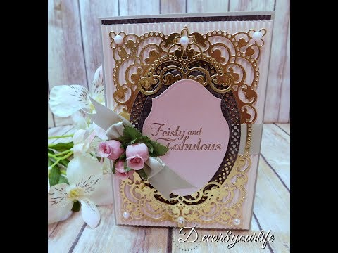 Elegant Card using Spellbinders Anabelle's Trousseau Layering Frame by Amazing Paper Grace