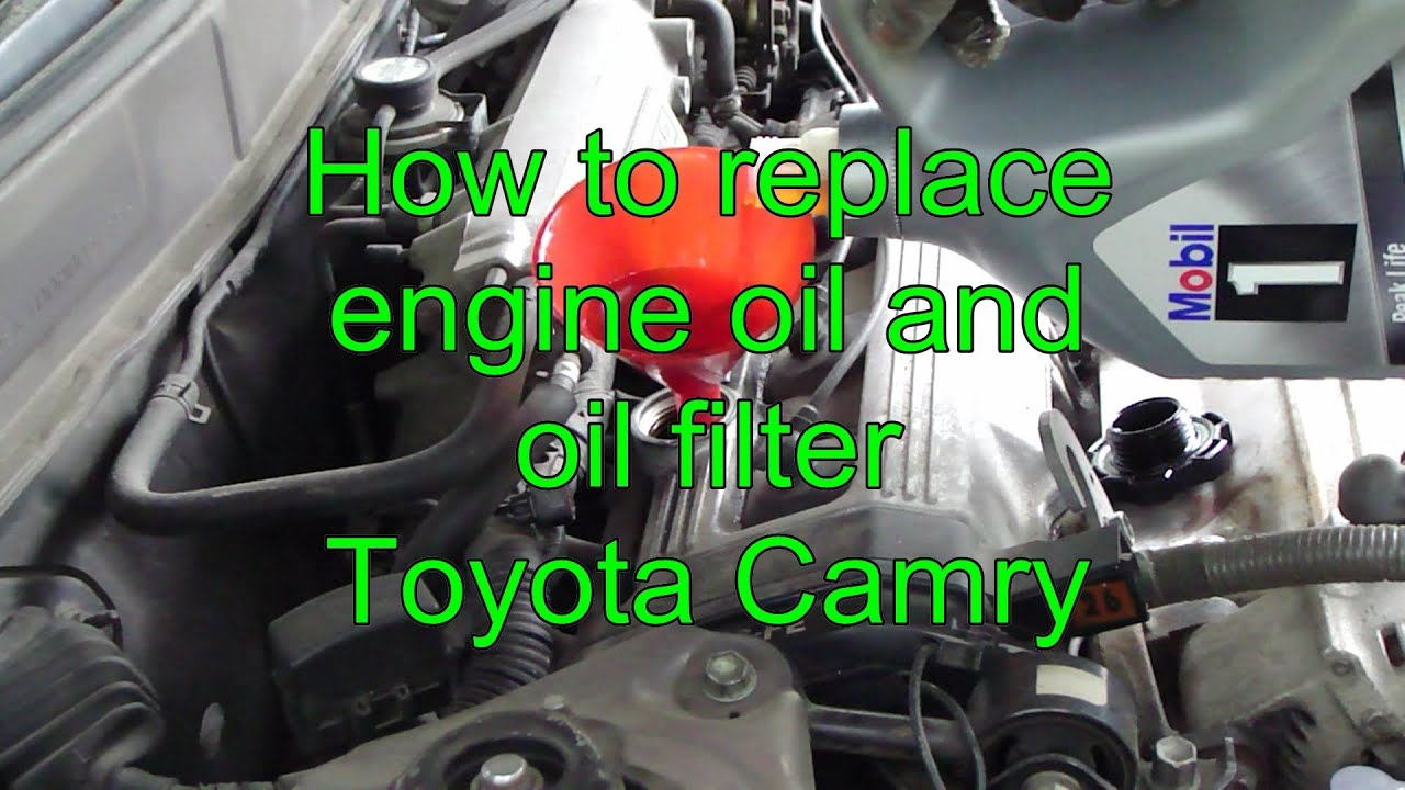 how to replace engine oil and oil filter toyota camry years 1990 to 2002 youtube. Black Bedroom Furniture Sets. Home Design Ideas