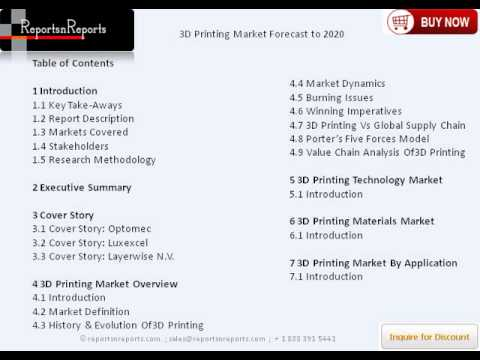 3D Printing Market Overview, Trends & International Forecast to 2020