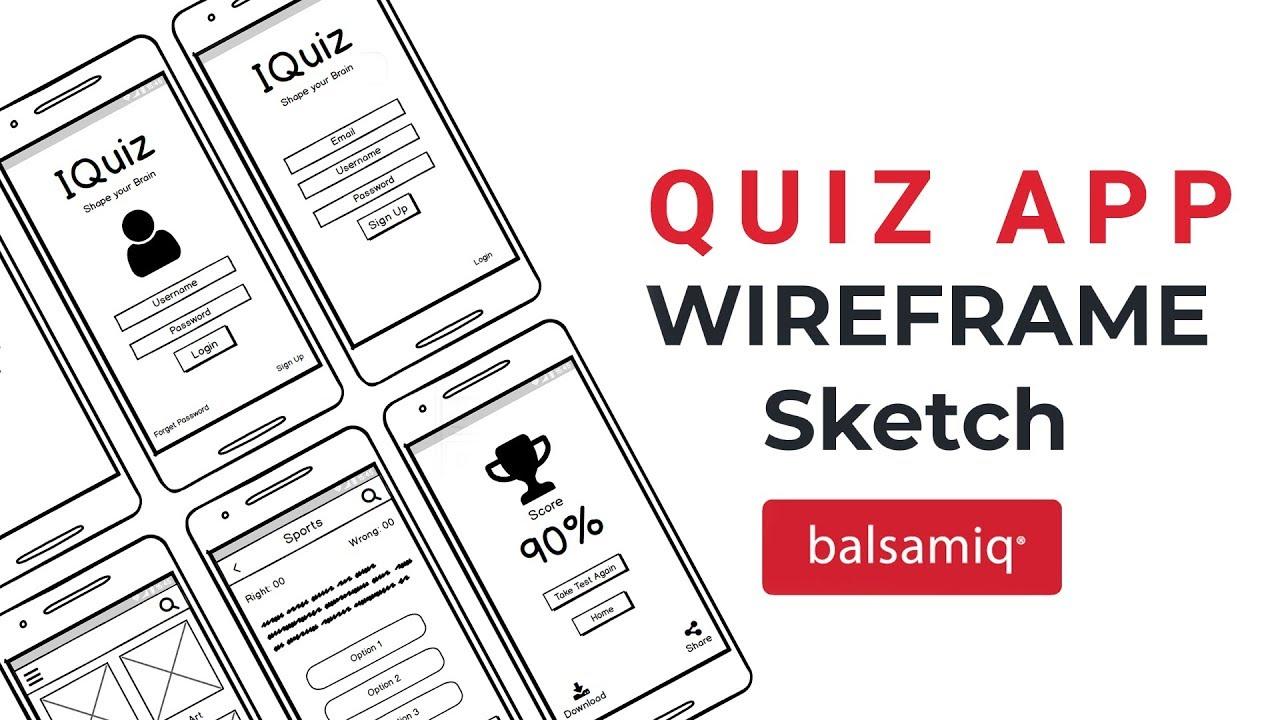 Create a Quiz App Wireframe Sketch using Balsamiq Mockups | UX Design  Tutorial | Balsamiq