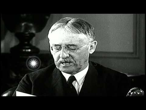 US War Secretary Henry L Stimson speaks about the use of US battleships to convoy...HD Stock Footage