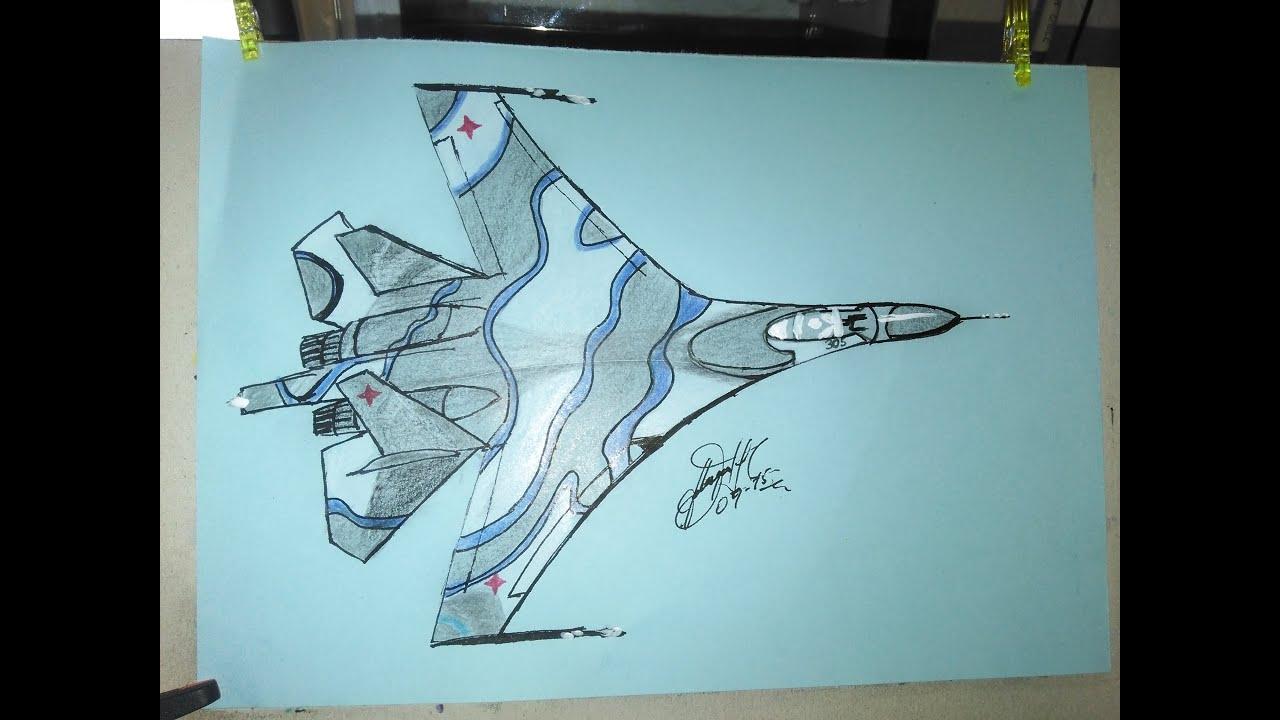 How to draw the fighter jet Sukhoi Su-27 Russian, Como dibujar avion ...