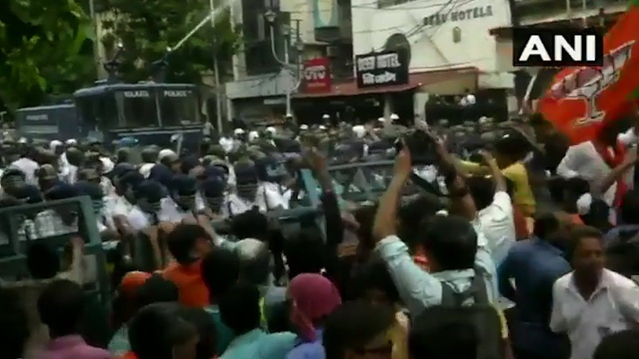 Cops Use Tear Gas Water Cannons To Control Massive Bjp Protest In Kolkata