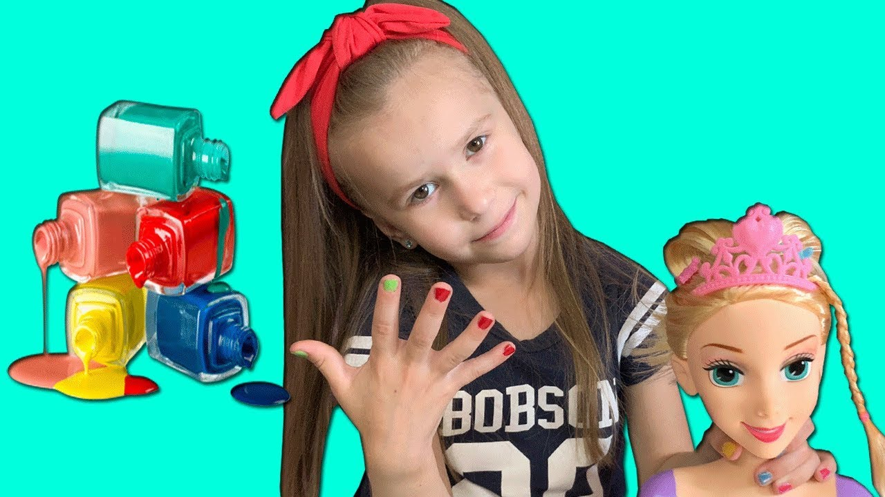 Lika plays in Beauty Salon with NAIL POLISH Funny video for kids Joy Joy Lika